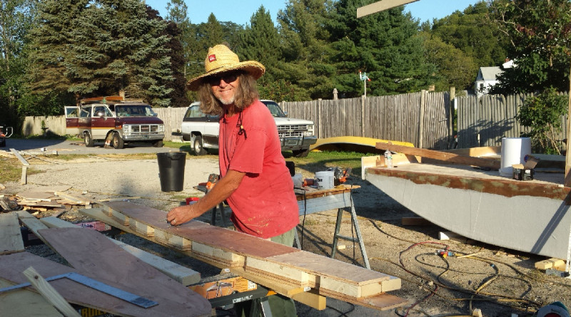 Rick Keith building Shanty Cat September, 2015.  (Yes, those are vintage vehicles! Rick's is the '87 'Burb 4x4 120,000 miles, minimal rust from Colorado and Steve's Rally Van 230,000 miles from Florida.)