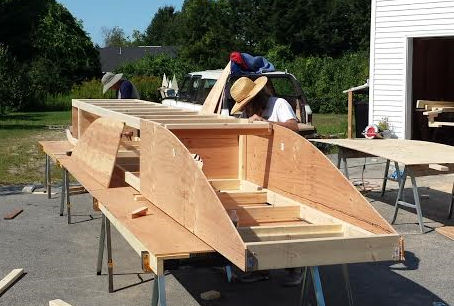 Fitting the panels for the first scow hull.