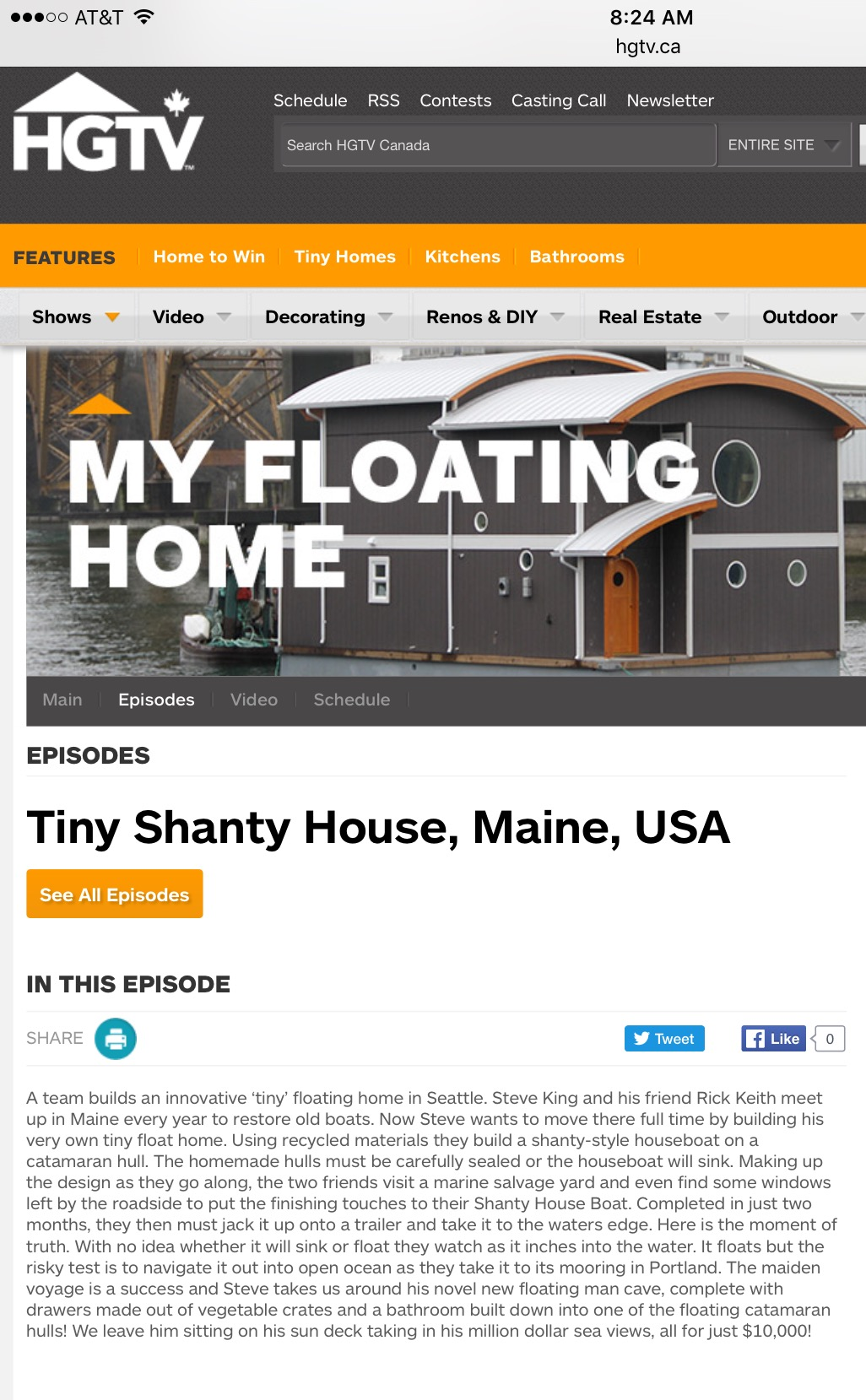 Tiny Shanty House on hgtv.ca first showing of our episode in Canada , US on FYI in June 25?